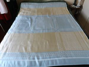 """STUNNING VINTAGE RAYON TABLE CLOTH 1960's UNUSED 50"""" by 66"""" blue & gold"""