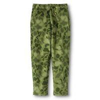 Kids Boys Elastic Pull-On Fleece Sweat Pants Green Camo Camouflage - Large Slim
