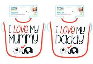 2 Pack Baby Bibs I Love My Mummy and I Love My Daddy 0-6 Months Great Quality