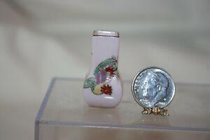 Miniature Dollhouse Vintage Pink Porcelain Vase Unusual Shape w Asian Mark NR
