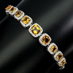 Bracelet Golden Citrine Genuine Natural Gems Solid Sterling Silver 8 Inch
