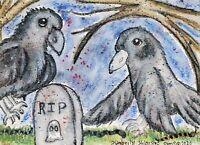 Crow in Graveyard Ghost Halloween Pop Folk Art Print of Watercolor 5x7 by Artist