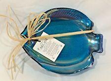 (SET OF 4) AKCAM IRIDESCENT BLUE GLASS TROPICAL FISH PLATES APPETIZERS, DESSERTS