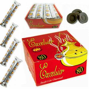 1 Box Excelsior Swift-Lite Charcoal discs incense Burner Coal 80 Discs Shisha