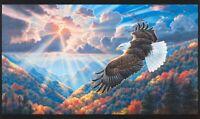 "24"" Fabric Panel - Robert Kaufman Digital Patriots Flying Eagle Mountain Scene"
