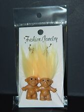 "Troll Doll 1"" Good Luck Lucky Bingo Lottery Yellow Pierced Earrings"