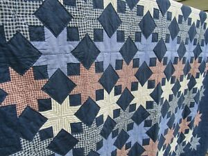 """VINTAGE QUILT 60% hand sewn STARS stitched cotton 103"""" x 92"""" KING LARGE!"""