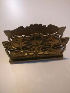 Vintage Art Nouveau Sunflower Brass Letter Rack  Letter Holder