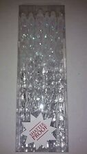 Set of 12 Icicle Christmas Holiday Ornaments White Clear Glitter Sparkle Pack