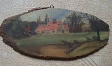 Greece awesome vintage 1960s oil painting on tree trunk log slice Farmhouse #4