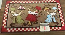 """RARE FAT CHEF PRINTED NYLON KITCHEN RUG (non skid latex back) (18""""x 30"""") 3 Chefs"""