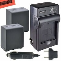 2 BM Premium NP-FV100 4500mAh Li-ion Batteries with Charger for Sony Camcorders