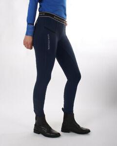 QHP Reitlegging Skye Vollbesatz, Reithose Leggins Vollbesatz Silikon blau navy