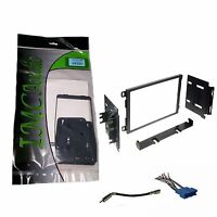 Double Din Stereo Radio Install Dash Kit w Antenna Adapter Wire Harness Black