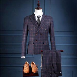 Men's Navy Blue Stripe Tweed Suit Vintage Wedding Suit Tuxedos Suit Custom