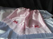 SISSY BABY PINK SATIN FRENCH KNICKERS TAP PANTIES   LACE SATIN ROSE & BOWS