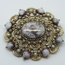 - Vintage Pin / Badge Large Gold and Purple Stone Brooch