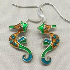 Pair ZARAH colorful Pierced seahorse Dangle earrings Adorable summer jewelry