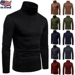 US Mens Turtleneck Pullover Long Sleeve Jumper Tops Warm Casual Slim Fit T-Shirt