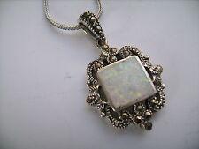 Sterling silver white Gilson Opal Marcasite necklace Art Deco Edwardian