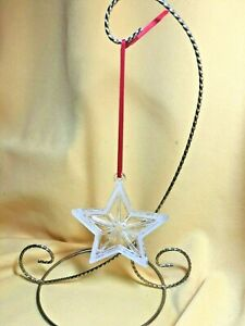 """Tiffany Crystal Star Ornament with Frosted Rim  - 3 1/2"""""""