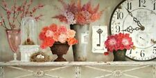 Kathryn White: Blossom Time Keilrahmen-Bild 35x70 Leinwand Shabby Uhr Stillleben