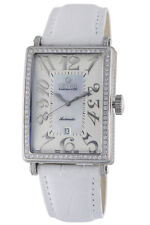 Gevril Womens 6209NV Glamour Automatic Diamond MOP Dial White Leather Date Watch