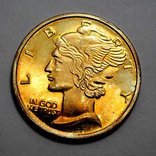 NAT. GOLD TONED 1 Troy Oz .999 Silver Round  Mercury  Dime Design, Unc, Proof