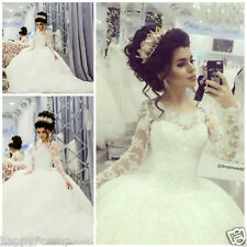 New Long Sleeve Wedding Dresses Sequin Princess Bridal Ball Gowns Lace Up Custom