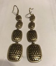 Hsn Ellen Tracy Earrings Pierced copper tone Dangle Signed