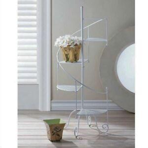 Metal Plant Stand Spiral Flower Pot Holder Garden Decor Staircase Planter Stands