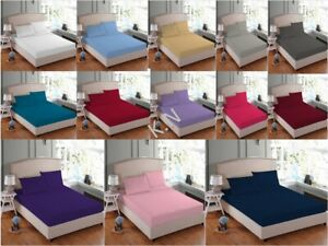 NEW Easy Care Soft Fitted Bottom Bed Sheet Pillowcases Single Double Super King