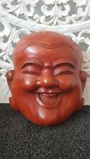 HAPPY BUDDHA MASK WOOD FENG-SHUI SUAR WALL SCULPTURE HAND CARVED