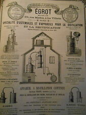 Vintage Pub EGROT Manufacture Appareils Distillation Paris 1881 alcool