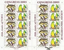 Stamp Australia WWF birds 50c pair sheets Hungarian Philatelic Society overprint