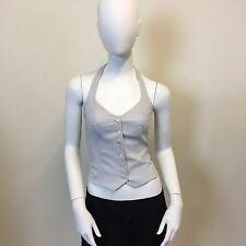 La Redoute Ladies Lilac Grey Pinstrpe Button Halter Neck Waistcoat UK Size 6
