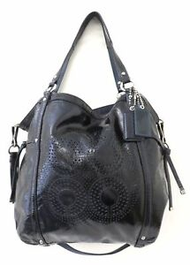 Coach Audrey 19569 Black Patent Leather Perforated C Large Cinched Tote Bag
