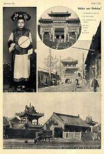 Mukden Kaisergräber China Tempel Mandschurin in Tracht Histor. Memorabile v.1904