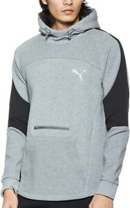 Puma evoStripe Mens Training Hoody Grey Stylish Slim Fit Gym Workout Hoodie