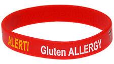 Gluten Allergy Alert Red Silicone Wristband Medical Alert ID Bracelet Mediband