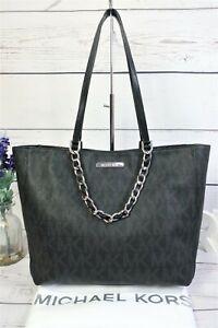 """MICHAEL KORS """"Harper"""" EW Signature Tote Shoulder Bag Black Med/Lrge ~Dust Bag EX"""