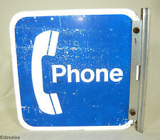 Vintage Double Sided Flanged Bracket Phone Sign advertising public payphone