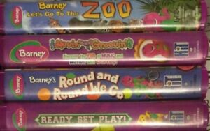 4 Barney VHS Tape Lot Ready Set Play Let's Go To The Zoo Round And Round We Go +