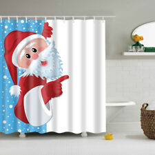 Bathroom Shower Curtain Panel Sheer Decor With Hook Christmas Santa Claus #1