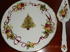 Royal Albert OLD COUNTRY ROSES CHRISTMAS TREE Cake Plate & Server 10028069