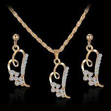 Chic Rhinestone Crystal Heart Necklace Earrings Jewelry Sets Wedding Bridal