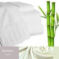 Bamboo Living Eco-Friendly 6 Piece Bedding Soft Sheet Set - Queen - White