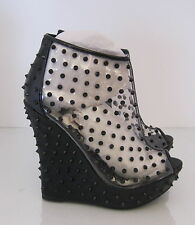 """Black/Clear Spike 5.5"""" Wedge 1.5"""" Platform Sexy Ankle Boots Size 6"""