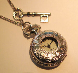 Alice in Wonderland Pocket Watch Necklace -Antique Silver Key -Jewellery-Jewelry