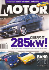 Motor Oct 03 911 GT3 Clubsport R8 Crewman SS Ute 9-3 Convertible BANG FOR YOUR B